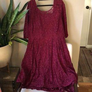 Lane Bryant burgundy lace dress